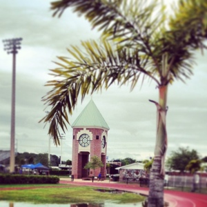 The lovely bell tower on the Tampa Jesuit campus.