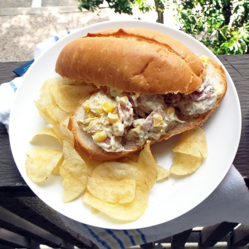 Picnic Ready Sweet Corn and Bacon Chicken Salad from Mancktastic! at mancktastic.wordpress.com
