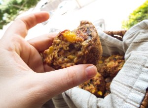 Banana-Peach Oatmeal Muffins from Mancktastic!