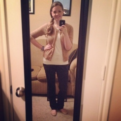 This was a mostly neutral outfit, but I liked it! Maybe I need a kick-butt statement necklace to liven it up. Cardigan and flats - Target; Top - LOFT; Slacks - Ann Taylor