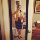 This outfit was for a visit with a potential vendor, so I tried to look my best. Bill said this outfit made me look like a schoolteacher - I'll take it! :)Skirt, cardigan and belt: Target; shoes: Payless