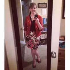 Debuting my new haircut with this orange, cognac and black outfit. Top, skirt and cardigan: Target; Shoes: Payless