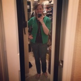 Casual Fribsday with my SJ green cardi and coordinating Kate Spade pencil necklace.