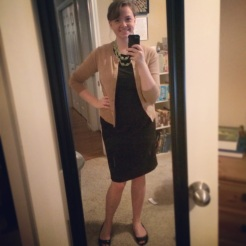 Black and tan with a pop of color! Making a shirt and skirt into a LBD (little black dress)