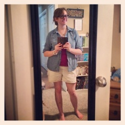 Weekend outfit - computer glasses, chambray shirt, and new white watch!