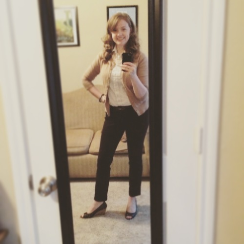 My first back-to-work outfit after vacation. Those wedges always make me feel confident!