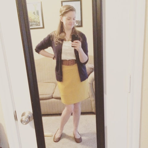 What can I say? Navy, mustard and cognac just feel right together for me.